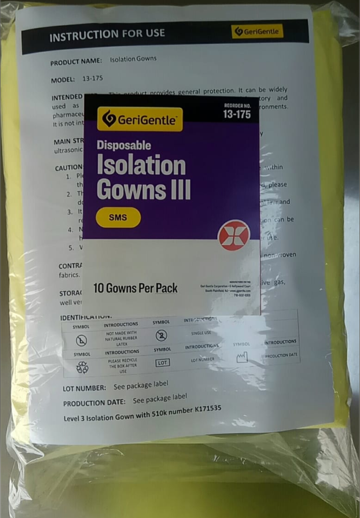 Gerigentle Disposable Isolation Gowns SMS Level 3