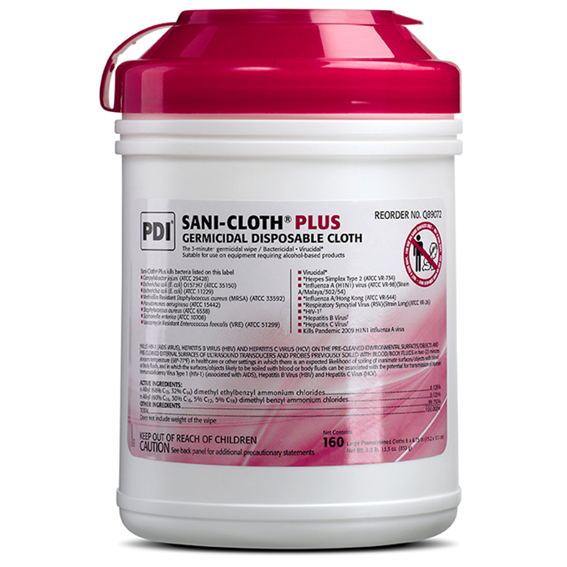 PDI Sani-Cloth Plus Germicidal Disposable Cloth Red Top (Case of 12)