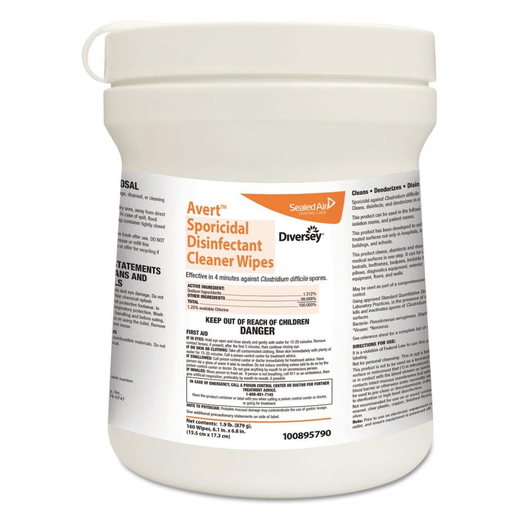 Diversey Avert Sporicidal Disinfectant Cleaner Wipes (Case of 12)