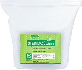 "Handyclean Steridol Wipes, EPA registered (7""x8"" 2 rolls x 800)"
